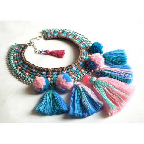"""""""Turquoise tassels"""" necklace"""
