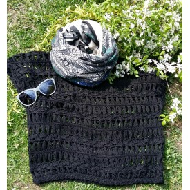 Perforated crocheted sweater