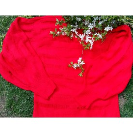 Bright red knitted sweater