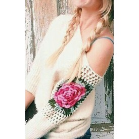 """Knitted sweater """" Mountain peony"""""""